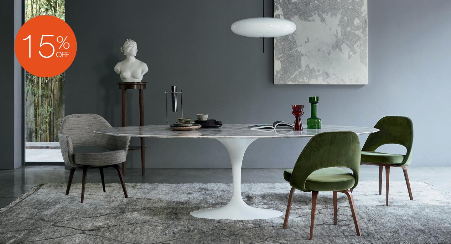 SAARINEN DINING TABLE ARABESCATO MARBLE OVAL BY KNOLL
