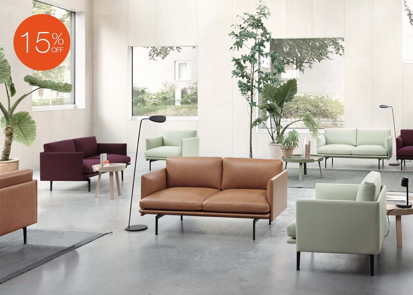 OUTLINE THREE SEATER LEATHER SOFA BY MUUTO
