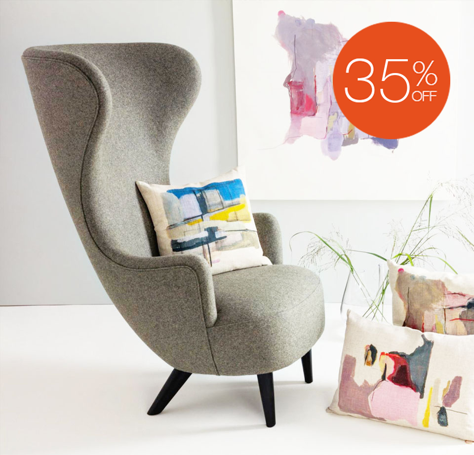 WINGBACK CHAIR & OTTOMAN EX-DISPLAY BY TOM DIXON